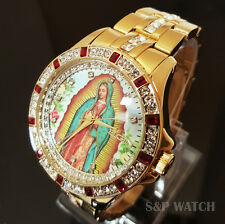 Mens Elegant Gold Tone Iced Out Elgin Our Lady of Guadalupe Crystal Dress Watch