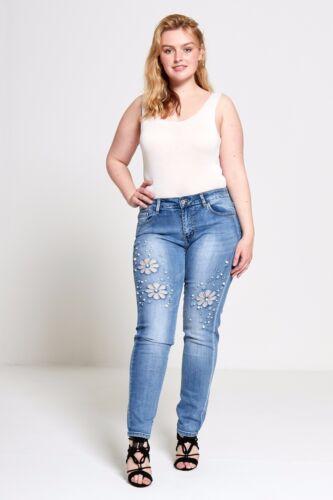 effetto invecchiato Skinny Jeans Biker Divadames Taglie Forti da Donna Pearl curva embroidere