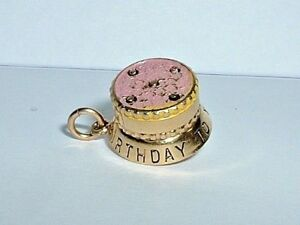 Image Is Loading VINTAGE 14k YELLOW GOLD 3D HAPPY BIRTHDAY CAKE