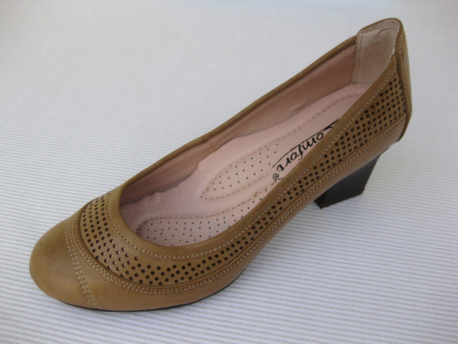 Le Comfort Womens Sand Shoes NEW $58 Betta Sand Womens Tan Perfed Pump 9 M f0dbf0