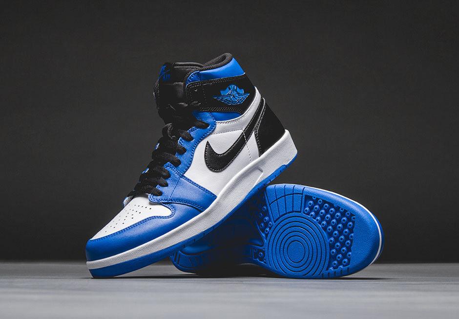 Nike air jordan 1 alto il ritorno white-nero-soar blu sz 11 [768861-106]