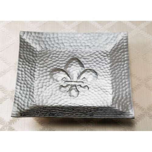 Croix Kindwer Hammered Square Fleur-Dis-Lis Tray A1158 St Silver