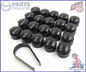 WHEEL NUT COVERS FOR SEAT IBIZA LEON ALHAMBRA 17mm LOCKING BOLT CAPS BLACK x20