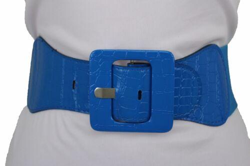 Women Elastic Waistband Fashion Wide Blue Stretch Belt Square Buckle Size M L XL