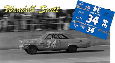 Ace//Powerslide #34 Ford 1965-70 Mercury 1973-Wendell ScottNascar decal