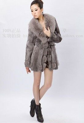 100% Real Genuine Rabbit Fur Fox Fur Trim Jacket Coat Outwear Lady Vintage Warm