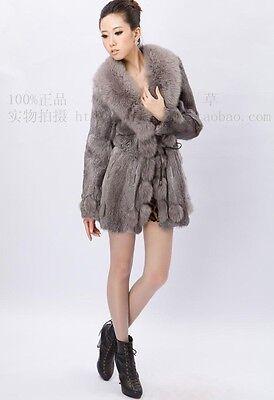 100% Real Genuine Rabbit Fur Fox Fur Trim Jacket Coat Outwear Lady Vintage Warm