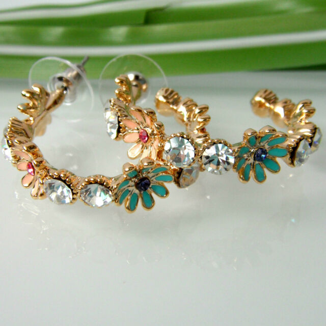 Colorful Enamel Leaves Flower 18K GP Rhinestone Crystal Ear-Nail Earrings BH1879