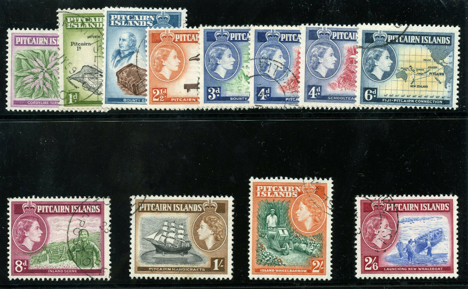 Pitcairn Islands 1957 QEII set complete very fine used. SG 18-28. Sc 20-31.