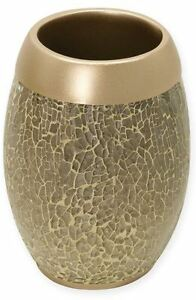 Gold Crackled Glass Tumbler Bath Cup Bathroom Toothbrush Toothpaste Resin Holder