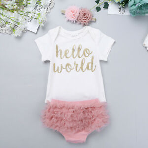 13cb269858b9 Image is loading Newborn-Baby-Girl-Hello-World-Romper-Jumpsuit-Bodysuit-