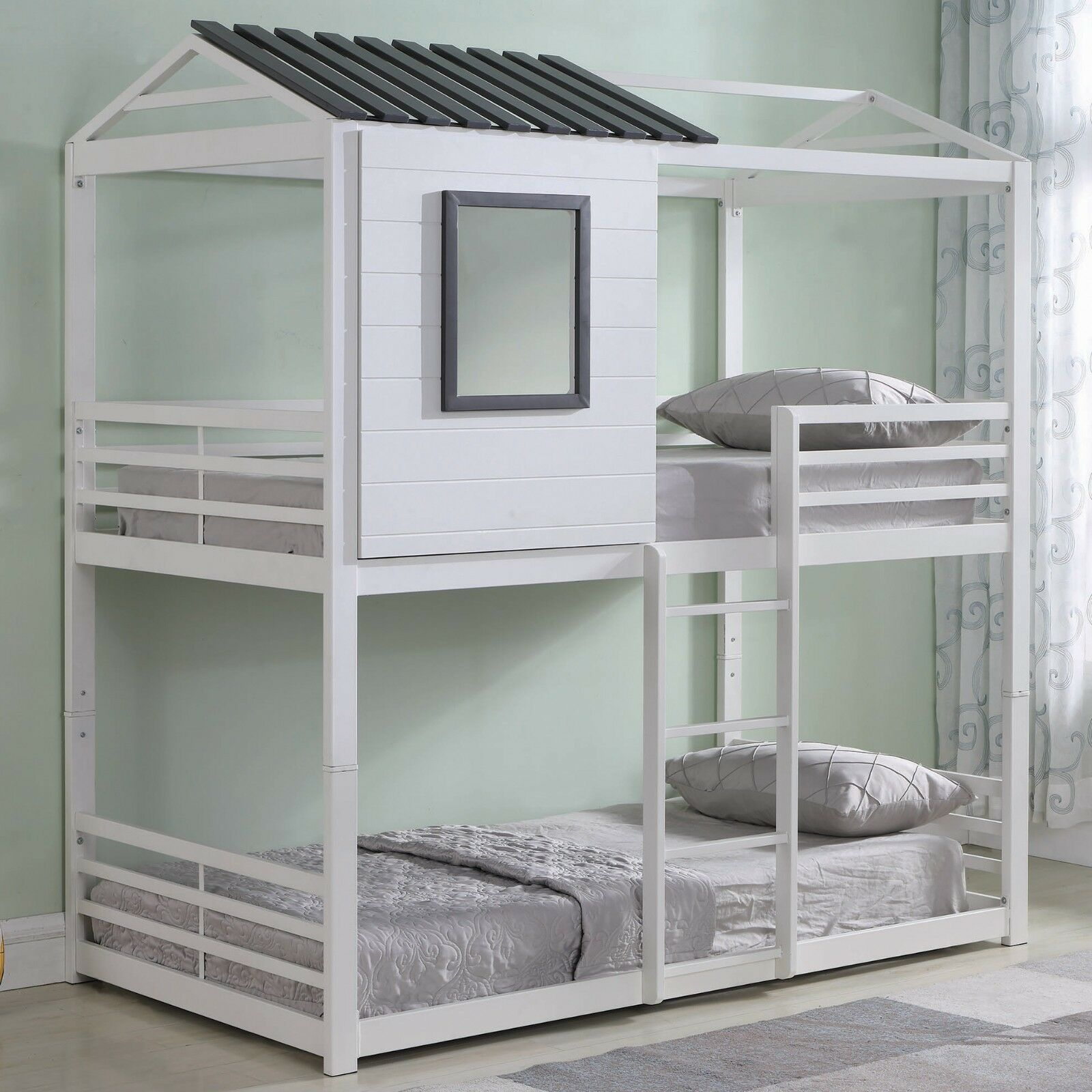 Picture of: Youth Kids Modern House Themed Heavy Duty Metal Bunk Bed Twin Over Twin White For Sale Online