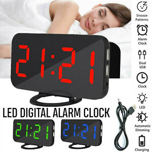 Dual-USB-Digital-LED-Clock-Snooze-Mirror-Alarm-Clock-Time-Night-Mode-Large