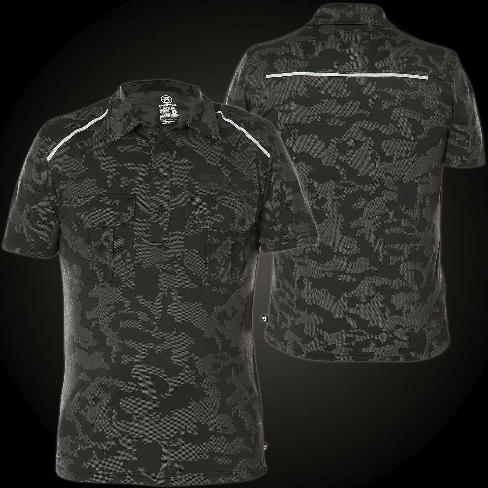 AMERICAN FIGHTER Affliction Polo T-Shirt The Master List Grau/Camouflage