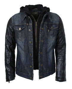 Young-amp-Rich-Herren-Jeans-Kombi-Jacke-Denim-double-layer-vintage-JK-456-blau