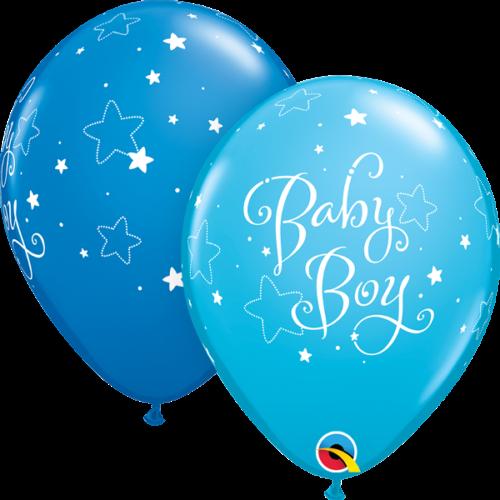 New Baby Boy Stars Robins Egg Blue 11 Inch Qualatex Latex Balloons x 6