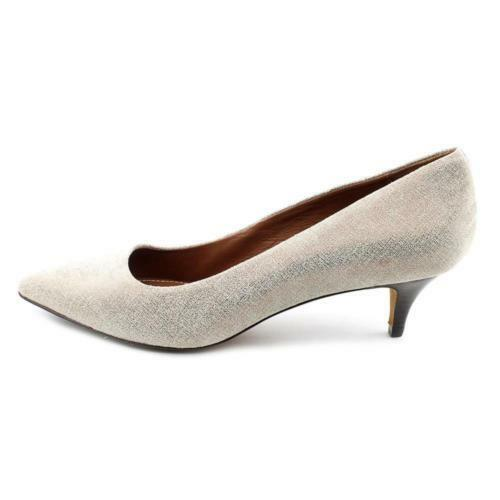 Donald J Pliner Franc Franc Franc 60 Leather Pump 9 Pointed Pewter Ivory Distressed Metallic 22acd2