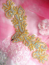 "Applique Aurora Borealis Crystal AB Rhinestone Gold Beaded 13"" Crafts (XR157)"