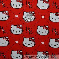 BonEful Fabric Cotton Quilt Red Black White Bow Dot HELLO KITTY Heart Girl SCRAP