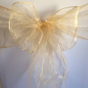 Champagne Organza Chair Sashes Ties Bows Ribbon Wedding Decoration Ebay