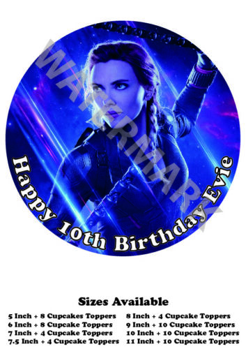 Black Widow Personalised Edible Wafer Icing Cake Topper Costco Size upto A3