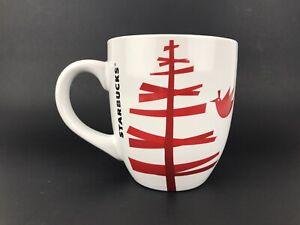 Starbucks-Mug-Cup-2012-Red-Stick-Christmas-Tree-Red-Bird-Coffee-Tea-12-Fl-oz