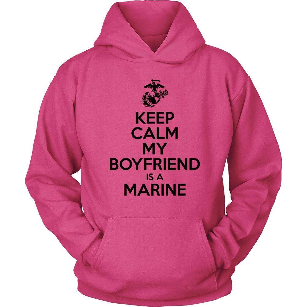 USMC Hoodie - Keep Calm My Boyfriend is a Marine - Marine Corps USMC Girlfriend