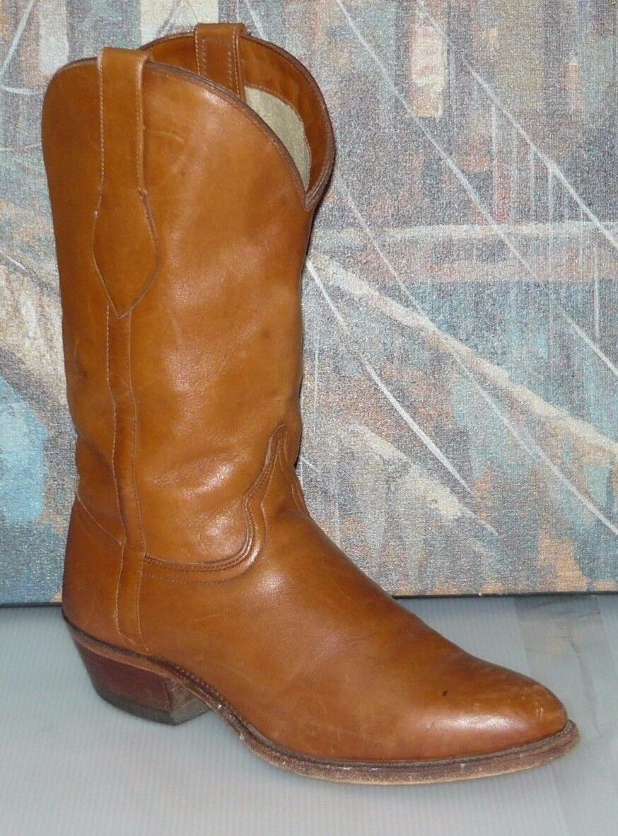 VINTAGE WRANGLER marron LEATHER WORK SOLE COWBOY WESTERN bottes SZ 7.5D