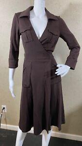 Diane-Von-Furstenberg-Long-Sleeve-Wrap-Dress-Wool-Brown-Women-039-s-Size-4