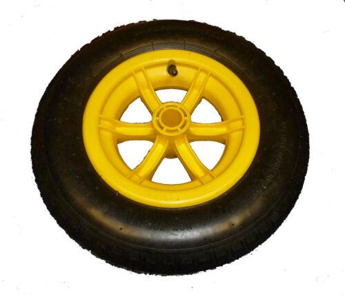"chariot pneumatique roue 14 /""pneu 3.50-8 4 plis jaune complet brouette"