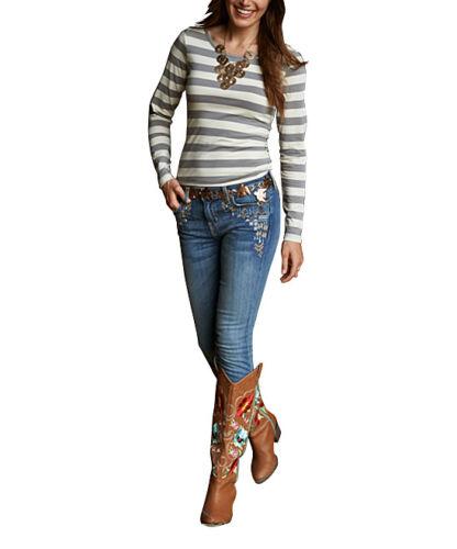 New Matilda Jane Womens Secret Fields gray white Sadie Tee Top Size Small S