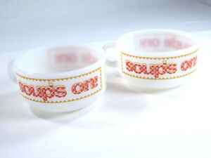 Glasbake-Milk-Glass-Soup-Chili-Bowl-Soup-039-s-On-Set-of-2-Red-Gingham-Vtg-Kitchen