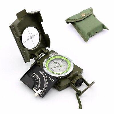 UK Professional Pocket Metal Sighting Compass Inclinometer Military Green Hiking