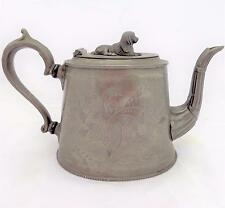 Antique Pewter Britannia Metal Teapot Spaniel Dog Finial C 1870 Engraved Design