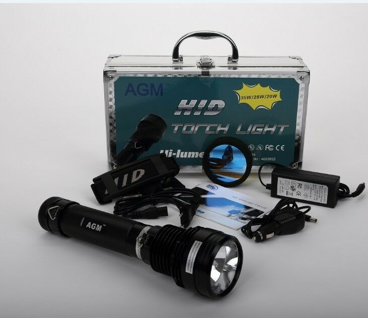 4400mAh 35W HID Torch Taschenlampen Flashlight set Alu mit  3 Modi SOS outdoor