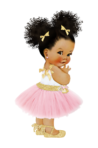 Afro Puff Baby Edible Cake Topper A4 Pink And Gold Ebay