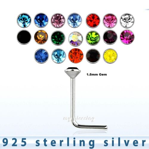 2pcs.of color  22g ~1.5mm Round Flat C.Z .925 Sterling Silver L-Shaped Nose Stud