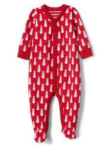8b0b8d773fee Baby Gap Snowman One Piece Footed Sleeper Outfit 0 3 6 9 Months NWT ...