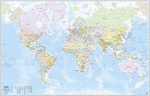 Poster Cartina Geografica Mondo.Mondo Cartina Geografica Murale 200x128 Cm In