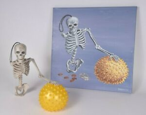 Original Crappy Magic Still Life Painting w/ Decorative Skeleton and Ball