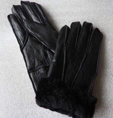 Grey ladies women 100/% genuine real leather sheepskin Sheep Skin gloves
