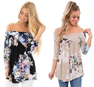 Ladies-Black-Blue-Floral-off-shoulder-criss-cross-summer-top-shirt-10-12-14-16-1