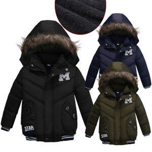2887b3539 Kid Baby Boy Winter Warm Coat Fur Hooded Thick Jacket Cotton-padded ...