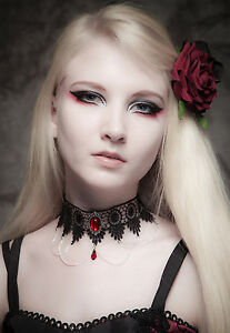 Gothic-lace-choker-Ruby-red-necklace-victorian-Steampunk-goth-wedding-SINISTRA