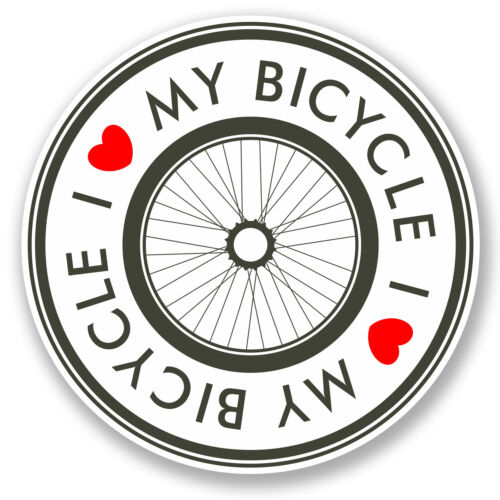 2 X me encanta mi bicicleta pegatina de vinilo Ipad Laptop Casco Bicicleta Regalo Rueda Divertido # 5457