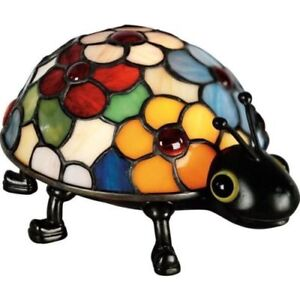 New Quoizel Flowered Tiffany Lady Bug Accent Table Lamp