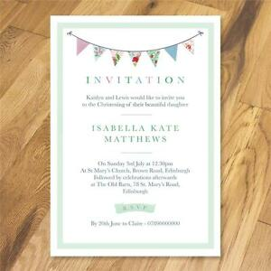 25 Personalised Cath Kidston bunting invitations party christening