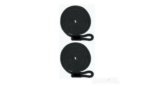 """3//8/"""" X 5/'  BLACK 2-PACK UV Coated USA Double Braid Fender Lines // Non-Fading"""