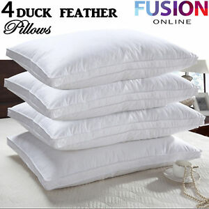 4 X Duck Feather Pillows 100% Cotton Cover Filled Luxury Hotel Quality Pillow 5056074345863