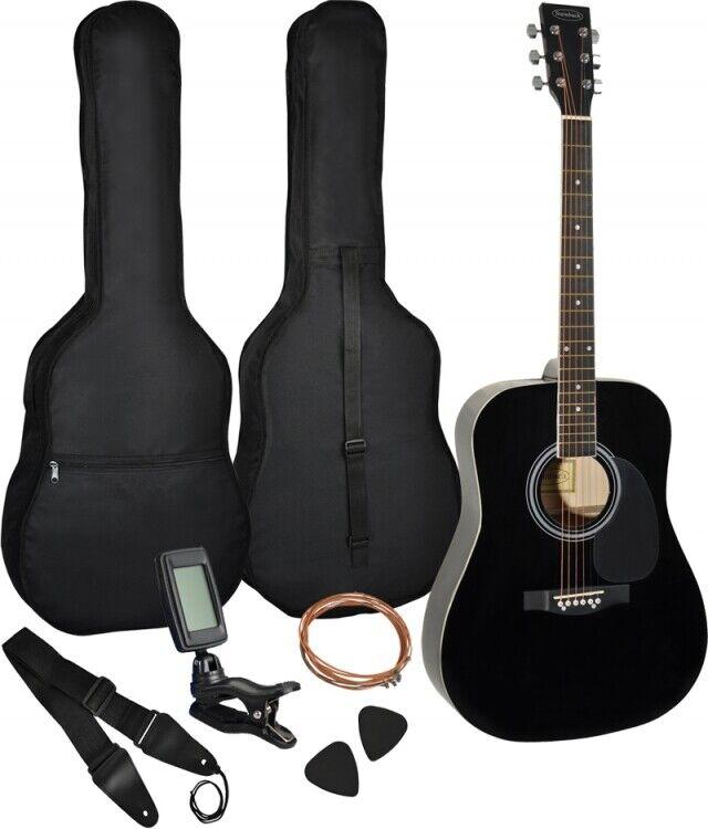 4 4 Gitarre schwarz mit Tasche, Gurt, Plektren, extra Saitensatz, Stimmgerät SET